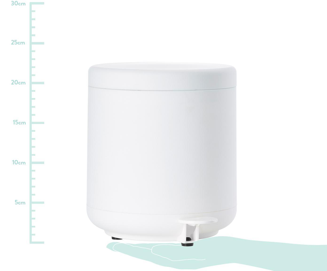 Kosz na śmieci Omega, Tworzywo sztuczne (ABS), Biały, matowy, Ø 20 x W 22 cm