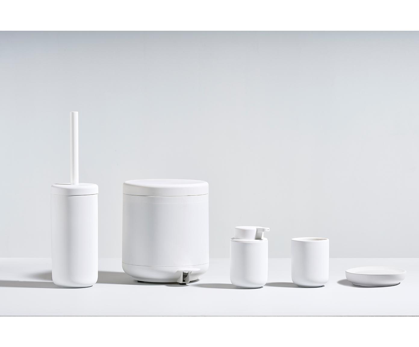 Afvalemmer Omega, Kunststof (ABS), Mat wit, Ø 20 x H 22 cm