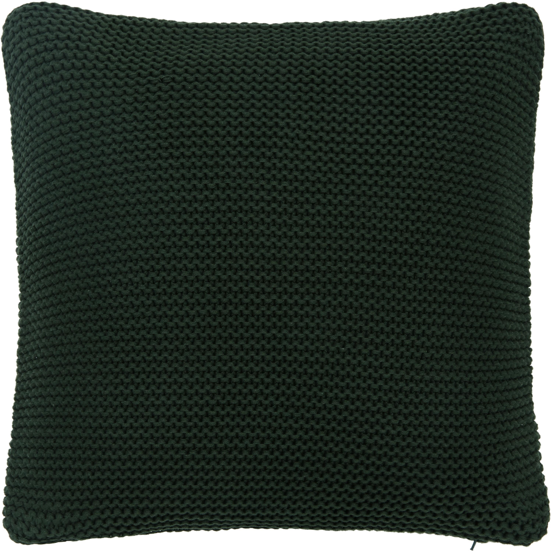 Federa arredo fatta a maglia verde scuro Adalyn, 100% cotone, Verde scuro, Larg. 40 x Lung. 40 cm