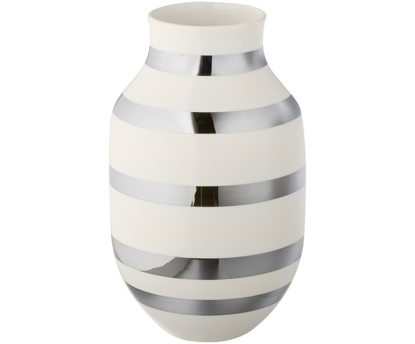 Grosse handgefertigte Design-Vase Omaggio, Keramik, Silberfarben, glänzend, Weiss, Ø 20 x H 30 cm