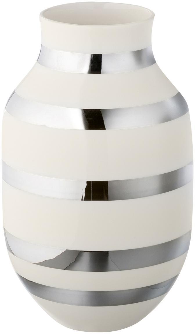 Vaso di design fatto a mano Omaggio, Ceramica, Argento lucido , bianco, Ø 20 x Alt. 30 cm
