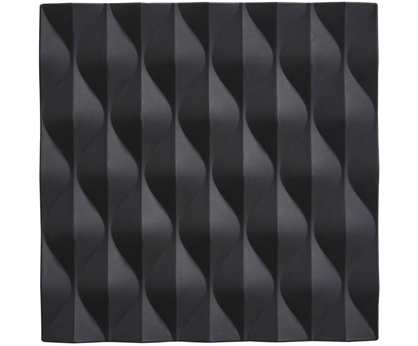 Topfuntersetzer Origami Wave, 2 Stück, Silikon, Schwarz, B 16 x T 16 cm