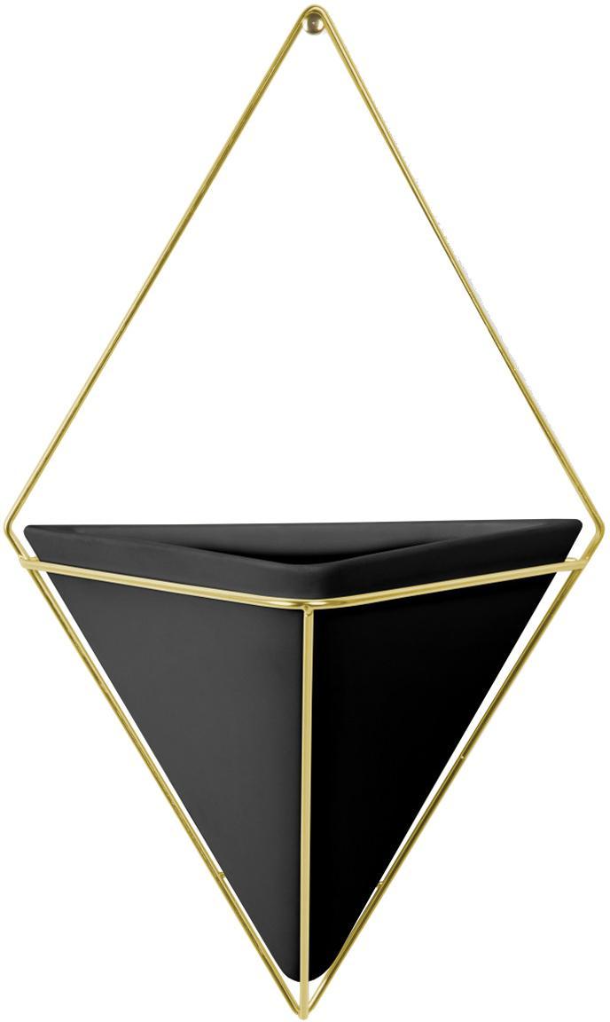 Portavaso da parete in ceramica Trigg, Struttura: metallo ottonato, Nero, ottone, Larg. 22 x Alt. 38 cm