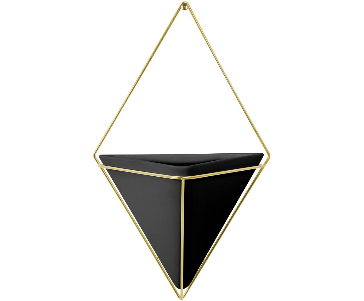 Ścienna osłonka na doniczkę Trigg, Stelaż: metal mosiądzowany, Czarny, mosiądz, S 22 x W 38 cm