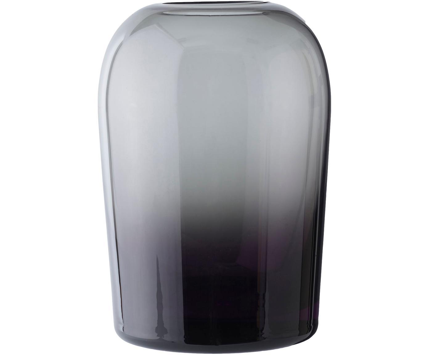 Mundgeblasene Vase Troll, Glas, mundgeblasen, Rauchgrau, Ø 13 cm