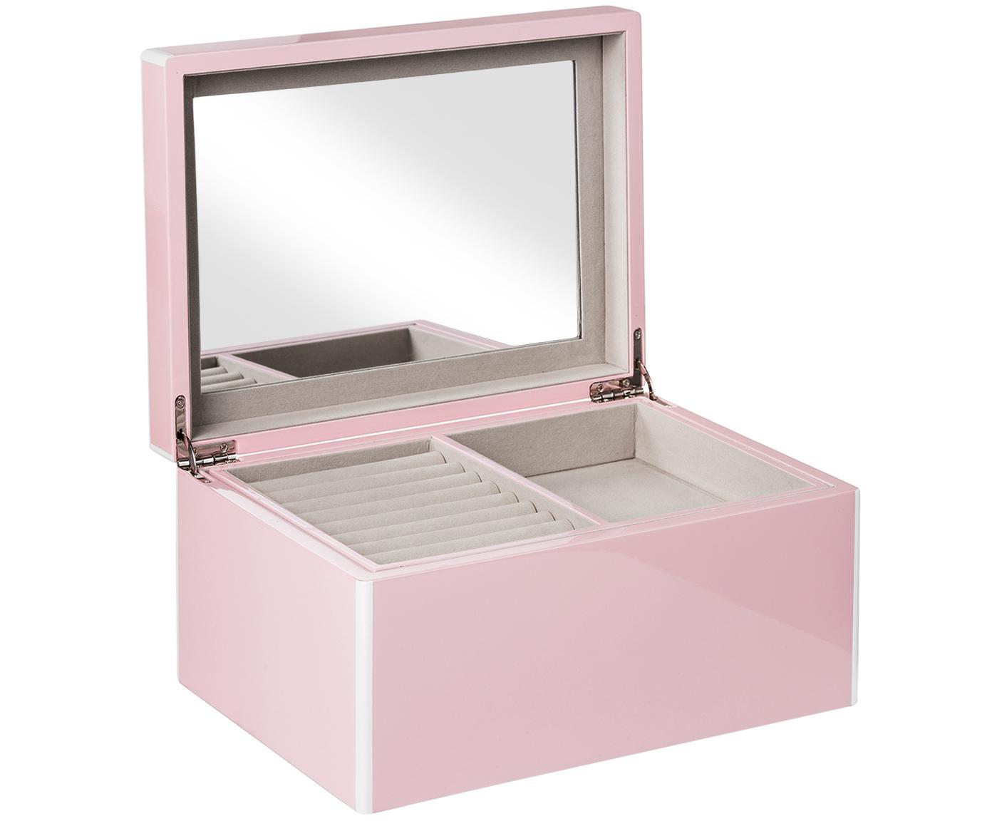 Schmuckbox Taylor mit Spiegel, Unterseite: Samt zur Schonung der Möb, Rosa, 26 x 13 cm