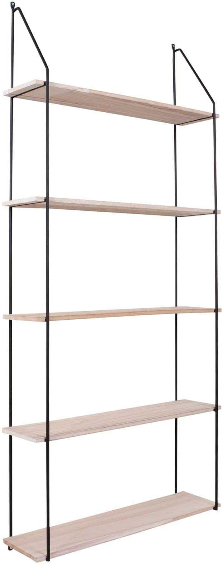 Estante de pared de metal y madera Eindhoven, Estructura: acero recubierto, Estantes: madera de Paulownia, Negro, madera, An 65 x Al 145 cm