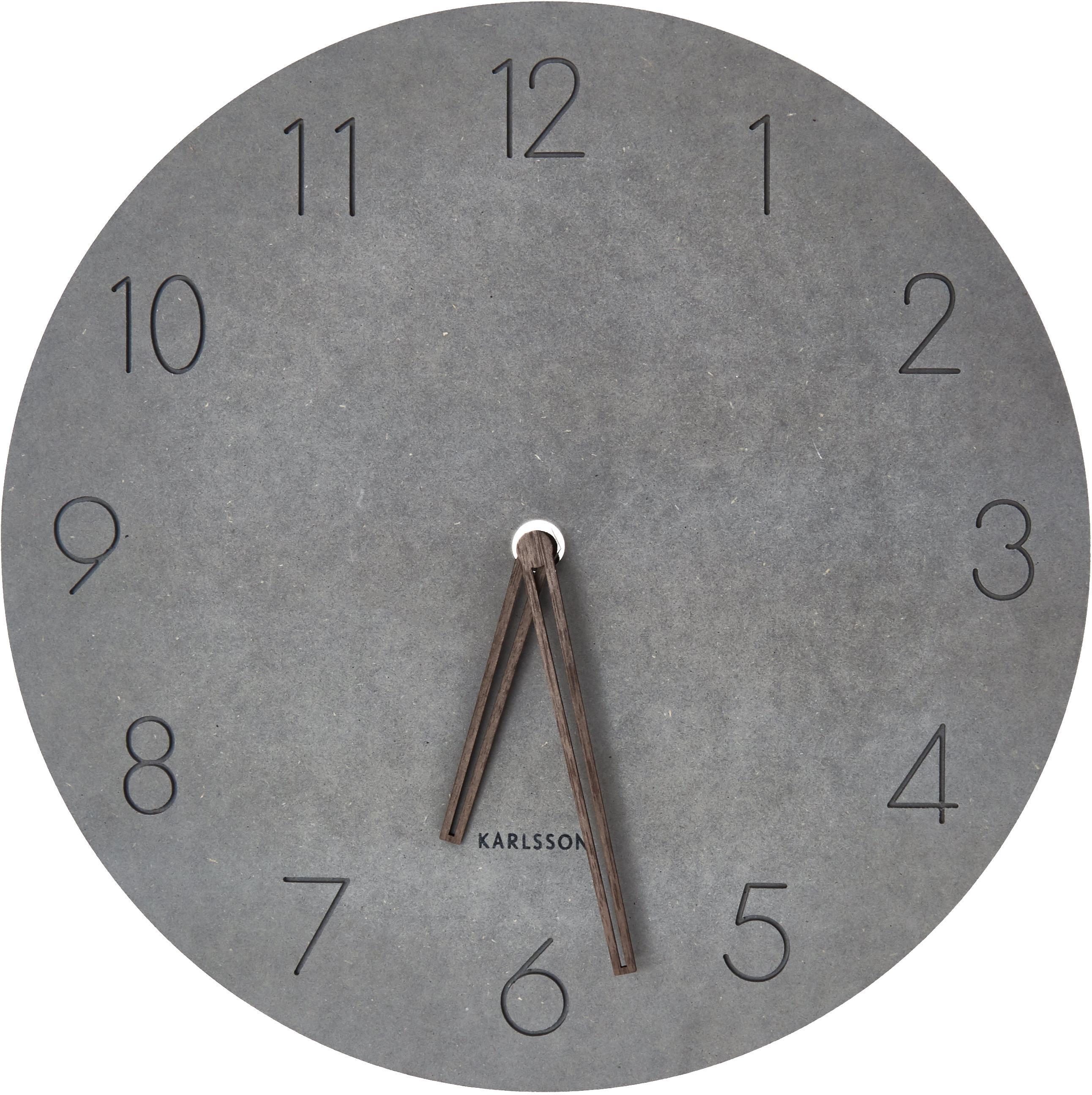 Reloj de pared Dura, Madera exótica, resistente al agua, Gris, marrón, Ø 29 cm