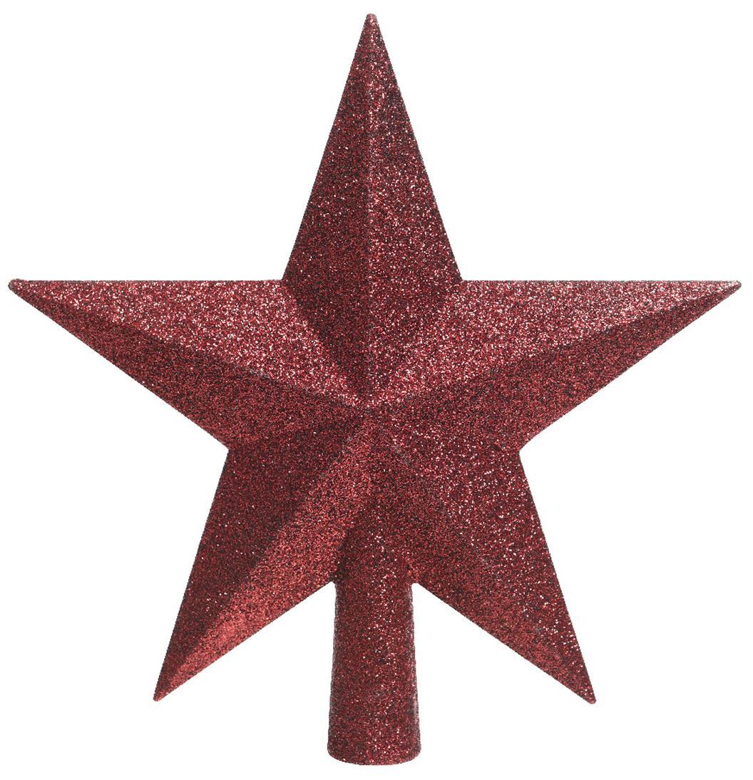 Estrella Árbol de Navidad Stern, Plástico, purpurina, Rojo, An 19 x Al 19 cm