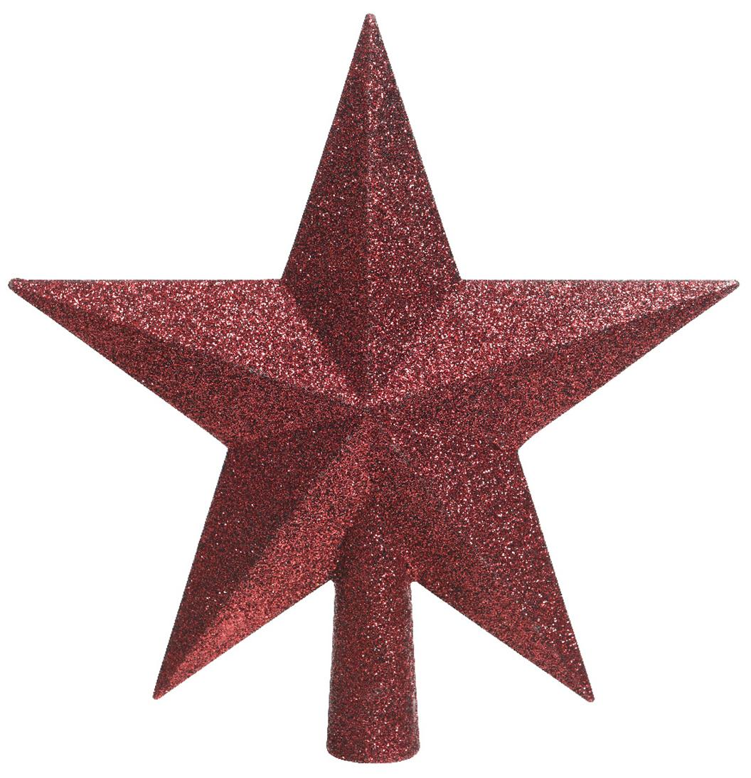 Puntale per albero Stern, Materiale sintetico, glitter, Rosso, Larg. 19 x Alt. 19 cm