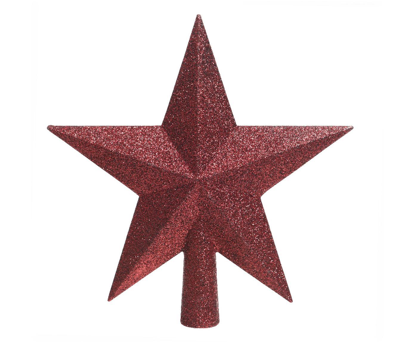 Weihnachtsbaumspitze Stern, Kunststoff, Glitzer, Rot, 19 x 19 cm