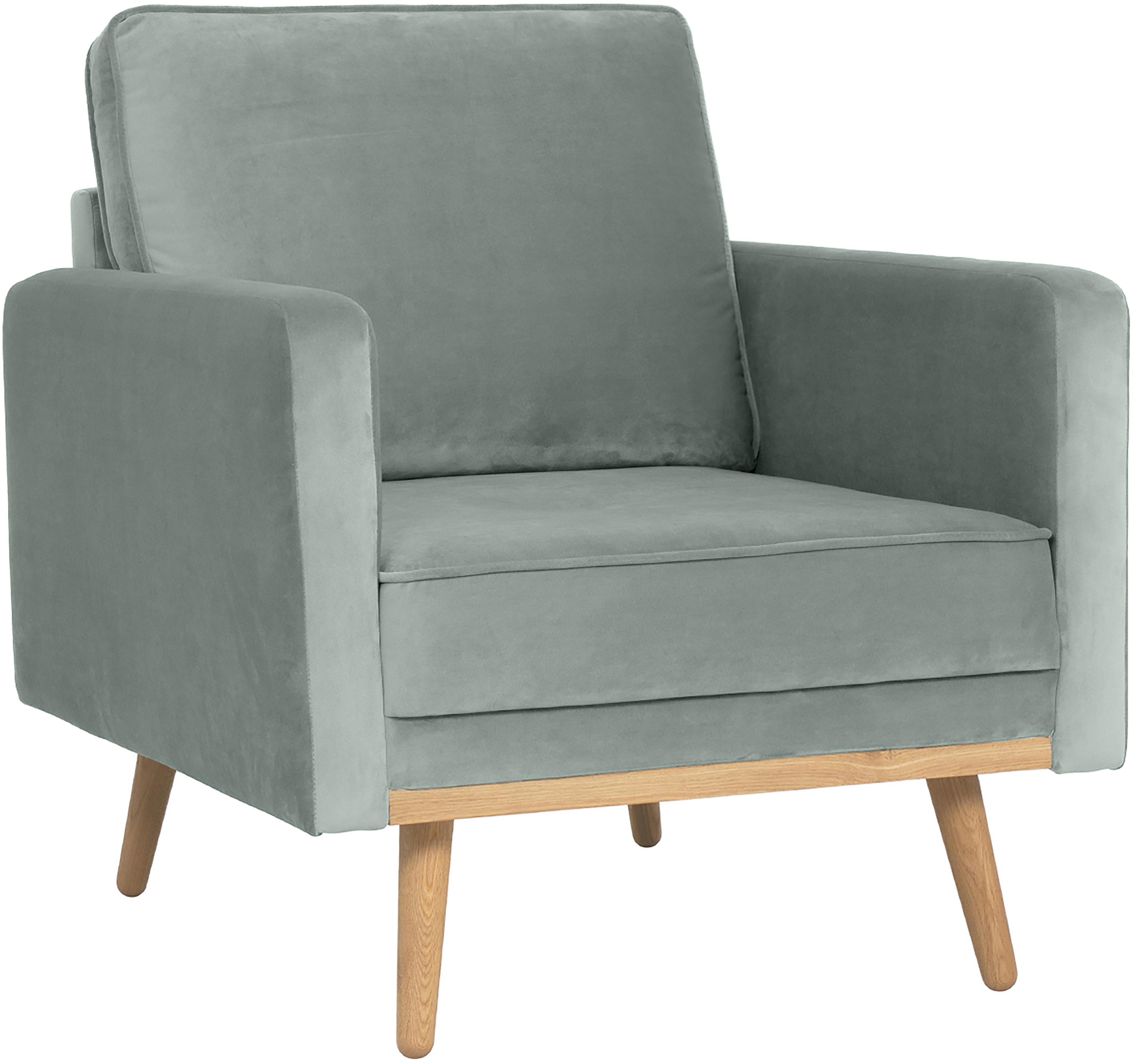 Fotel z aksamitu Saint, Tapicerka: aksamit (poliester) 3500, Stelaż: masywne drewno sosnowe, p, Aksamitny szałwiowy zielony, S 85 x G 76 cm