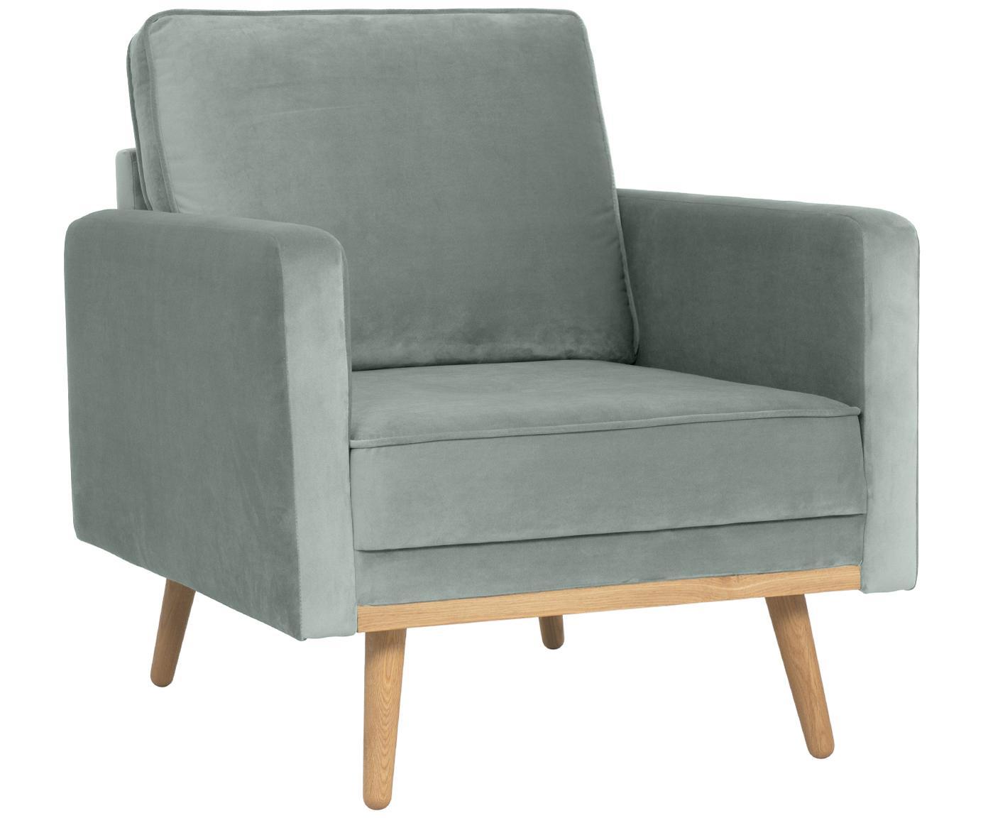 Fluwelen fauteuil Saint, Bekleding: fluweel (polyester), Frame: massief grenenhout, spaan, Bekleding: saliekleurig. Poten en frame: eikenhoutkleurig, B 85 x D 76 cm