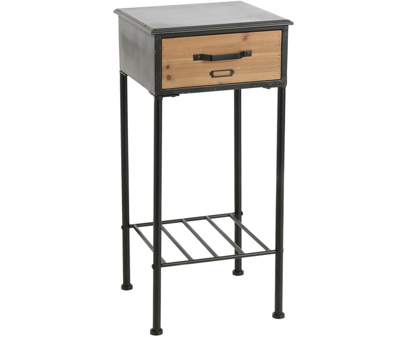 Mesa auxiliar Etiquette, Estructura: aluminio, Negro, beige, An 35 x Al 75 cm