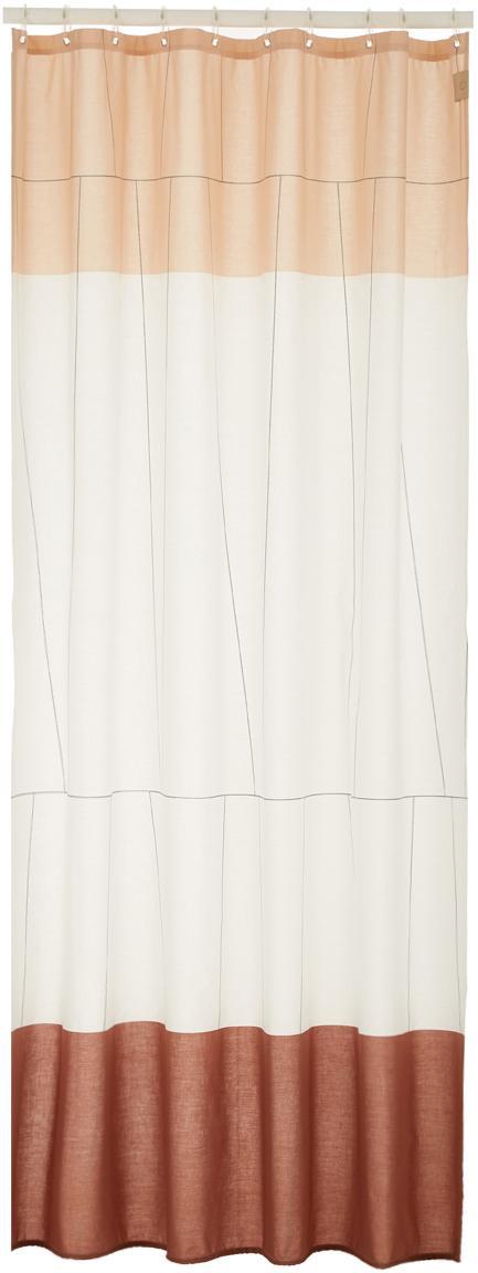 Smal douchegordijn Verdi van katoenen mix., Oogjes: edelstaal, vernikkeld, Roodtinten, wit, 150 x 200 cm