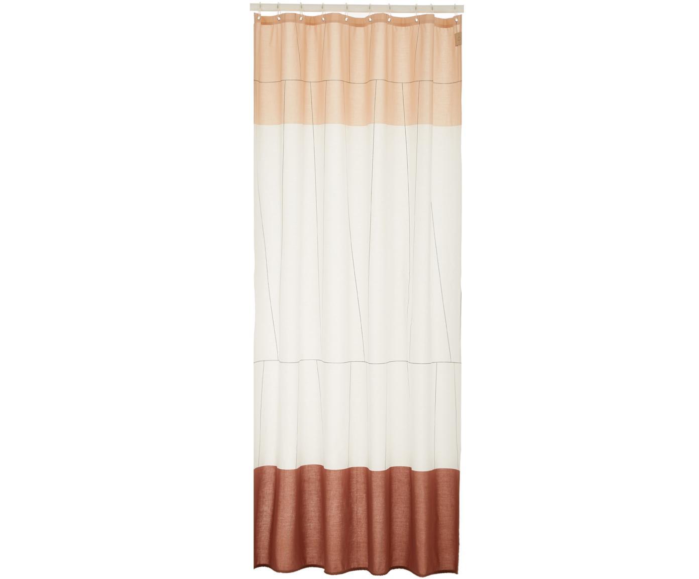 Schmaler Duschvorhang Verdi aus Baumwoll-Mix, Rottöne, Weiß, 150 x 200 cm