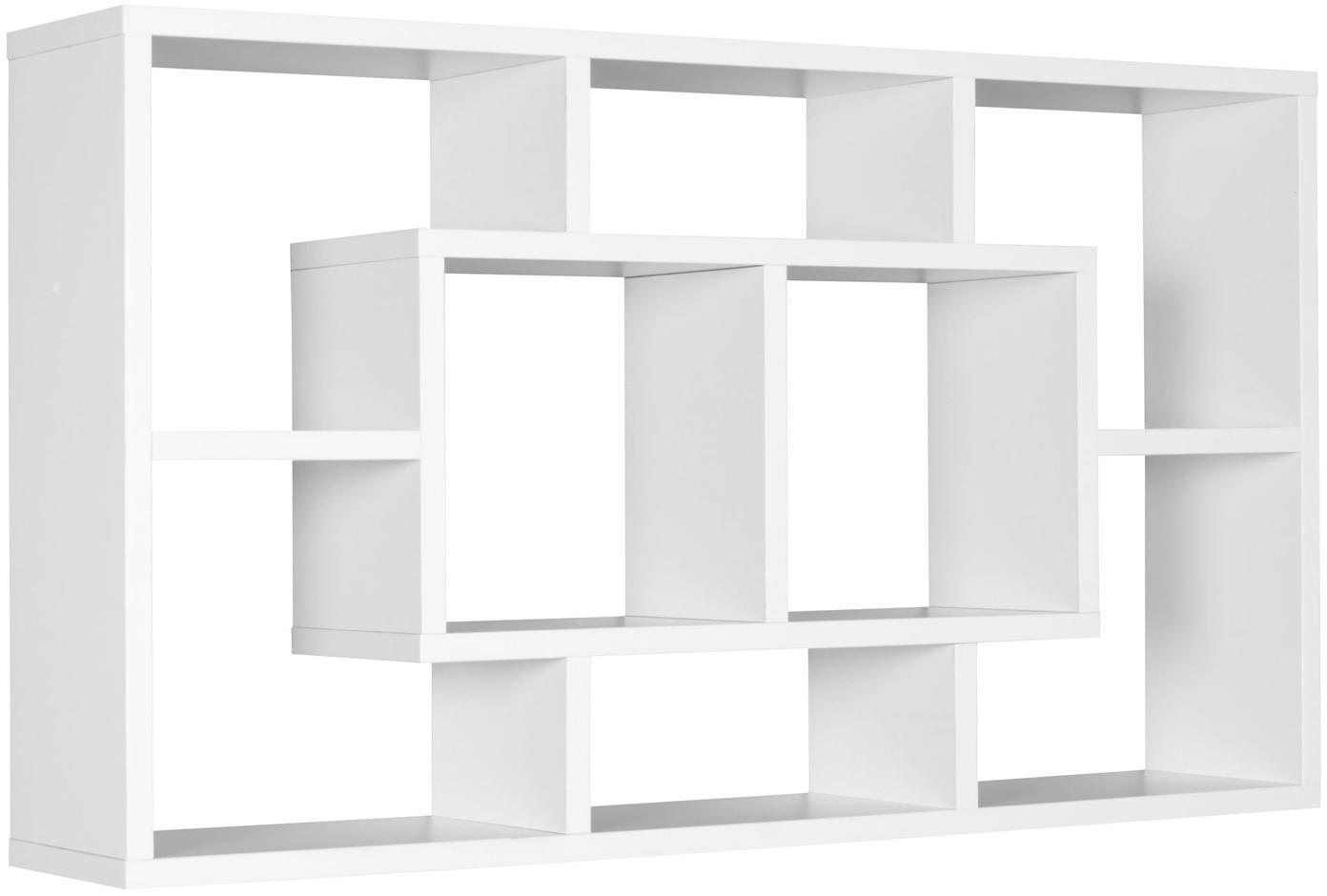 Estante de pared Alex, estilo moderno, Tablero de fibras de densidad media (MDF), chapado y recubierto de melamina, Blanco, An 85 x Al 48 cm