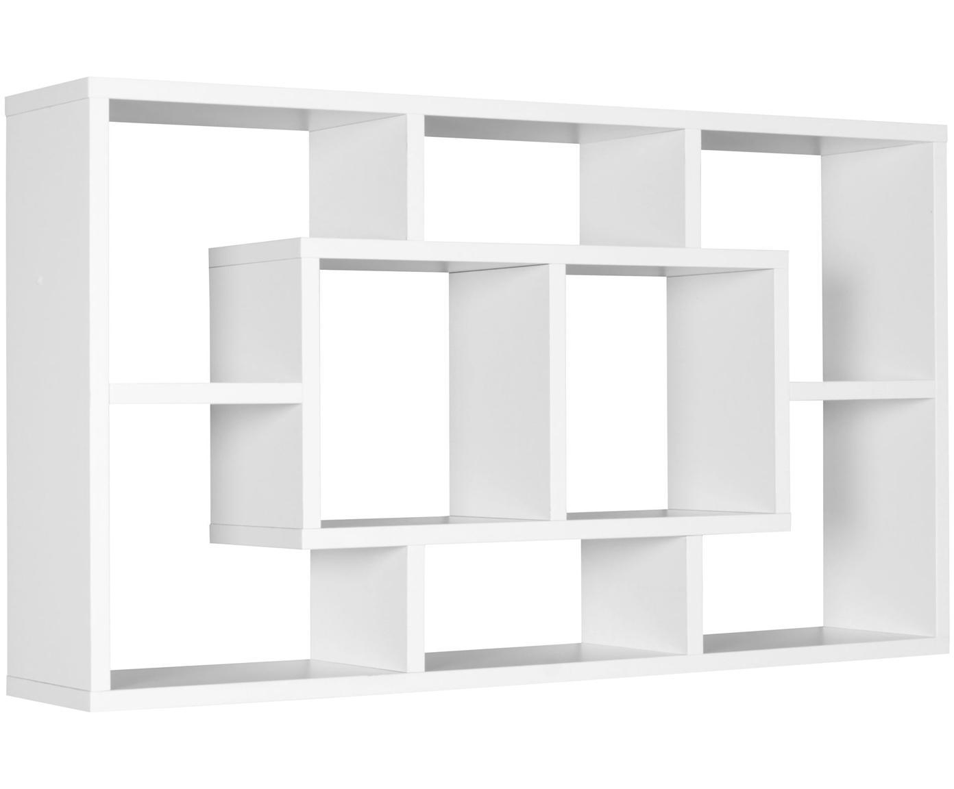 Półka ścienna Alex, Płyta pilśniowa średniej gęstości (MDF), fornirowana, powlekana melaminą, Biały, S 85 x W 48 cm