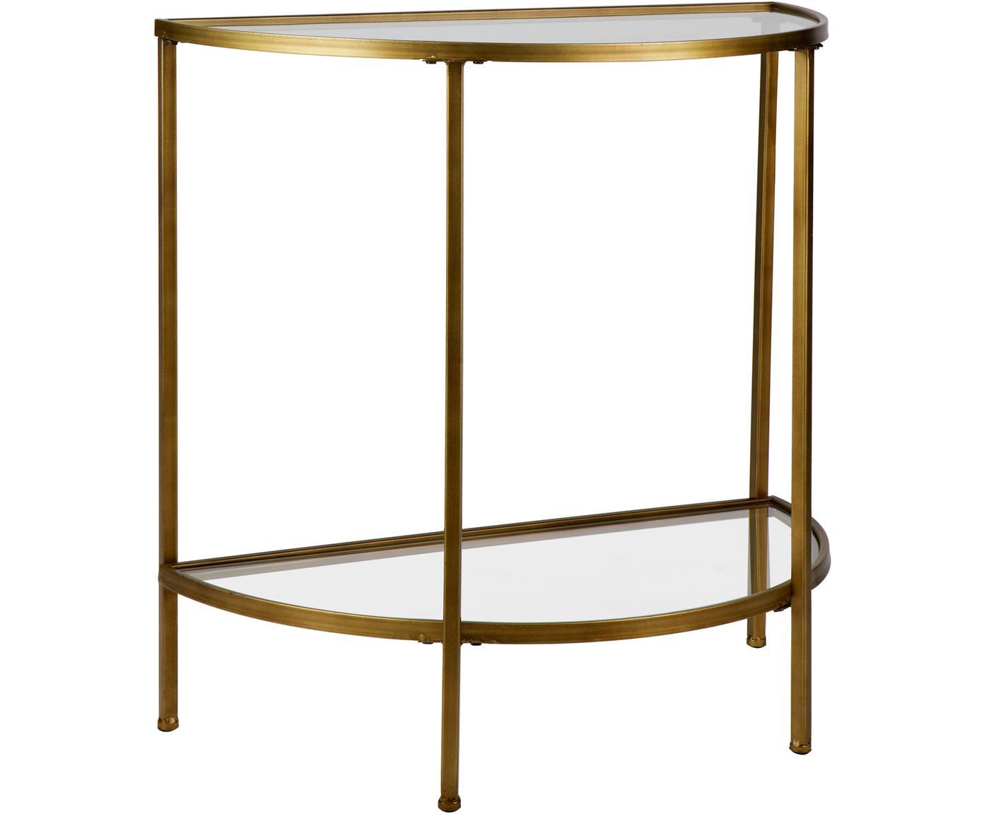 Consola semicircular de vidrio Goddess, Estructura: metal recubierto, Estantes: vidrio, Latón, An 76 x Al 75 cm