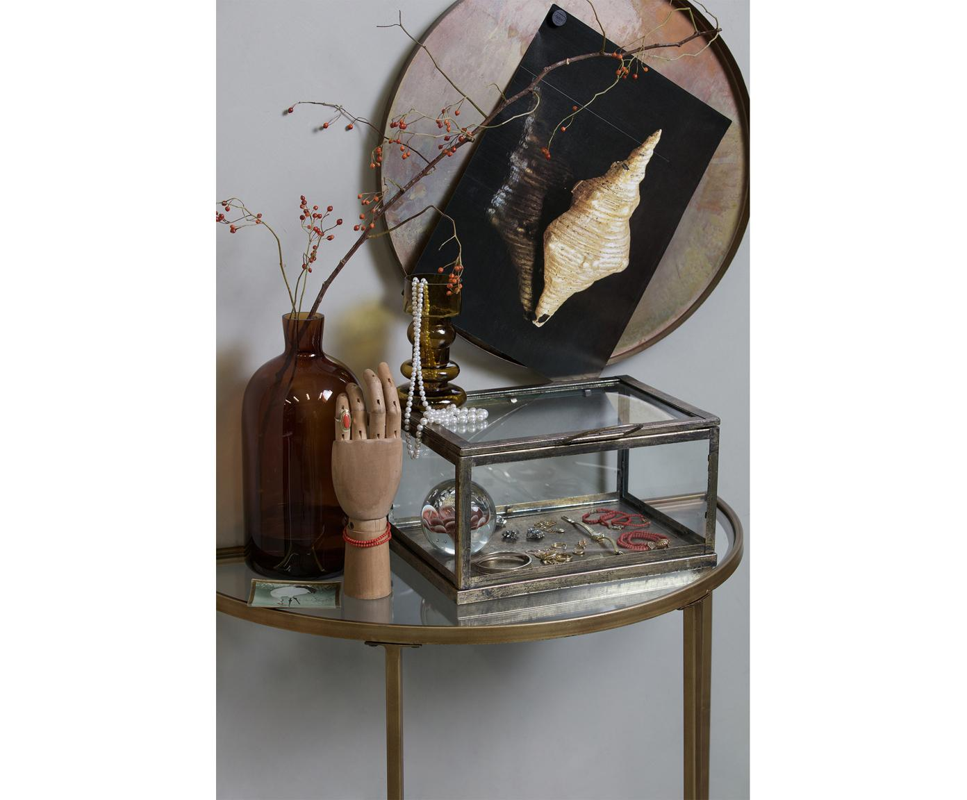 Halbrunde Glas-Konsole Goddess in Antik-Finish, Gestell: Metall, beschichtet, Messingfarben, 76 x 75 cm
