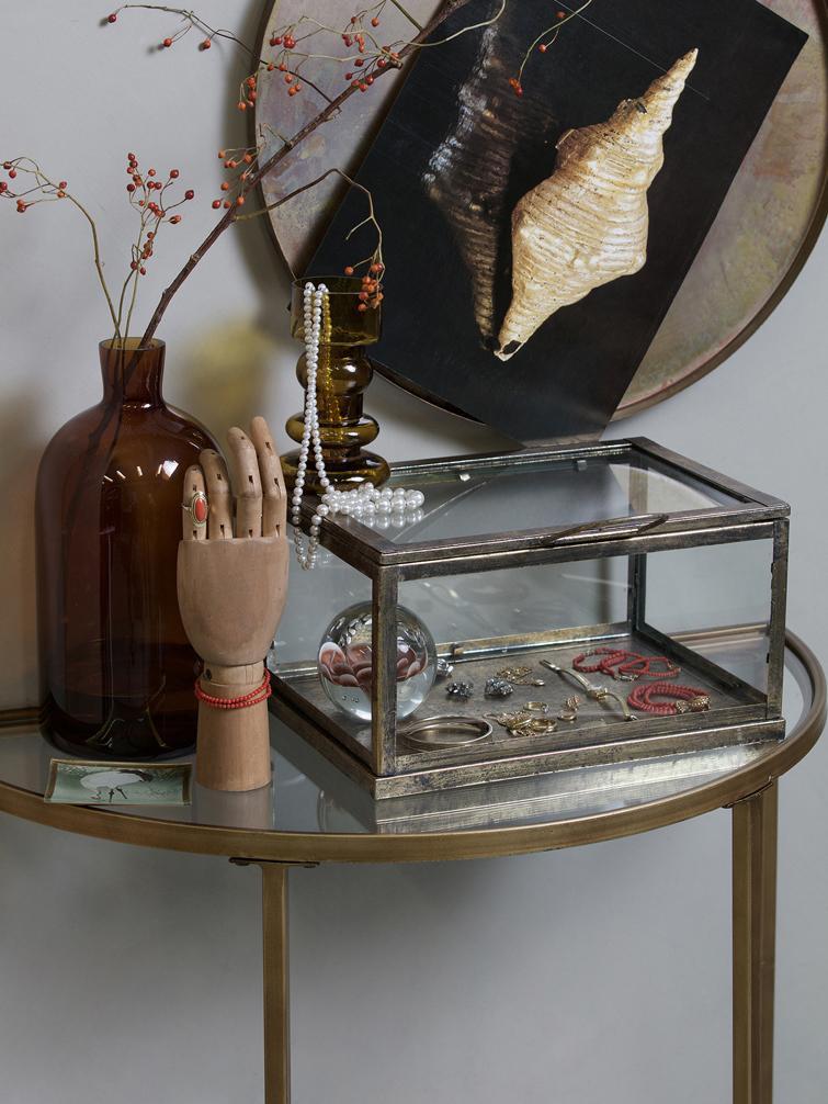 Halfronde glazen sidetable Goddess met antieke afwerking, Frame: gecoat metaal, Messingkleurig, 76 x 75 cm