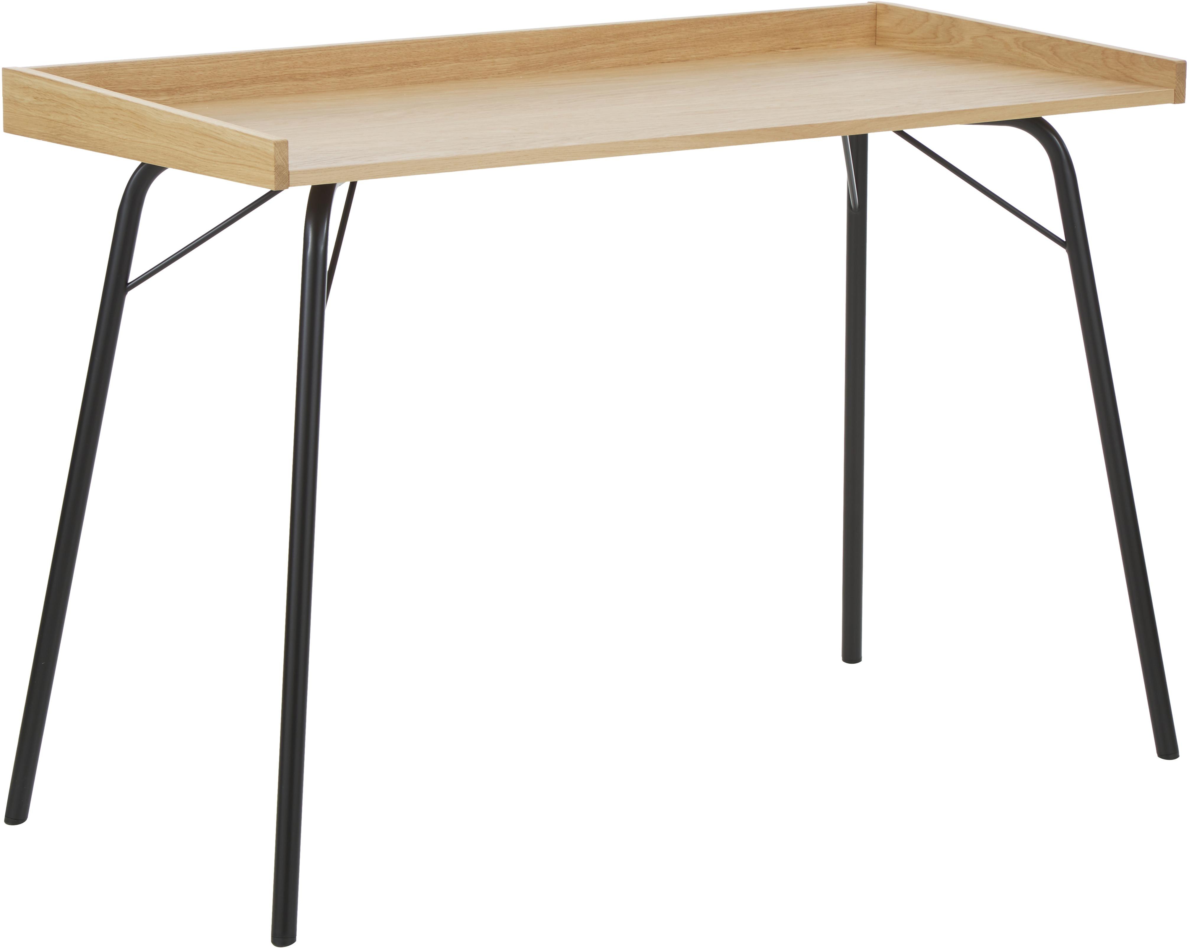Escritorio en roble Rayburn, Tablero: aglomerado chapado en mad, Estructura: acero con pintura en polv, Roble, negro, An 115 x Al 78 cm
