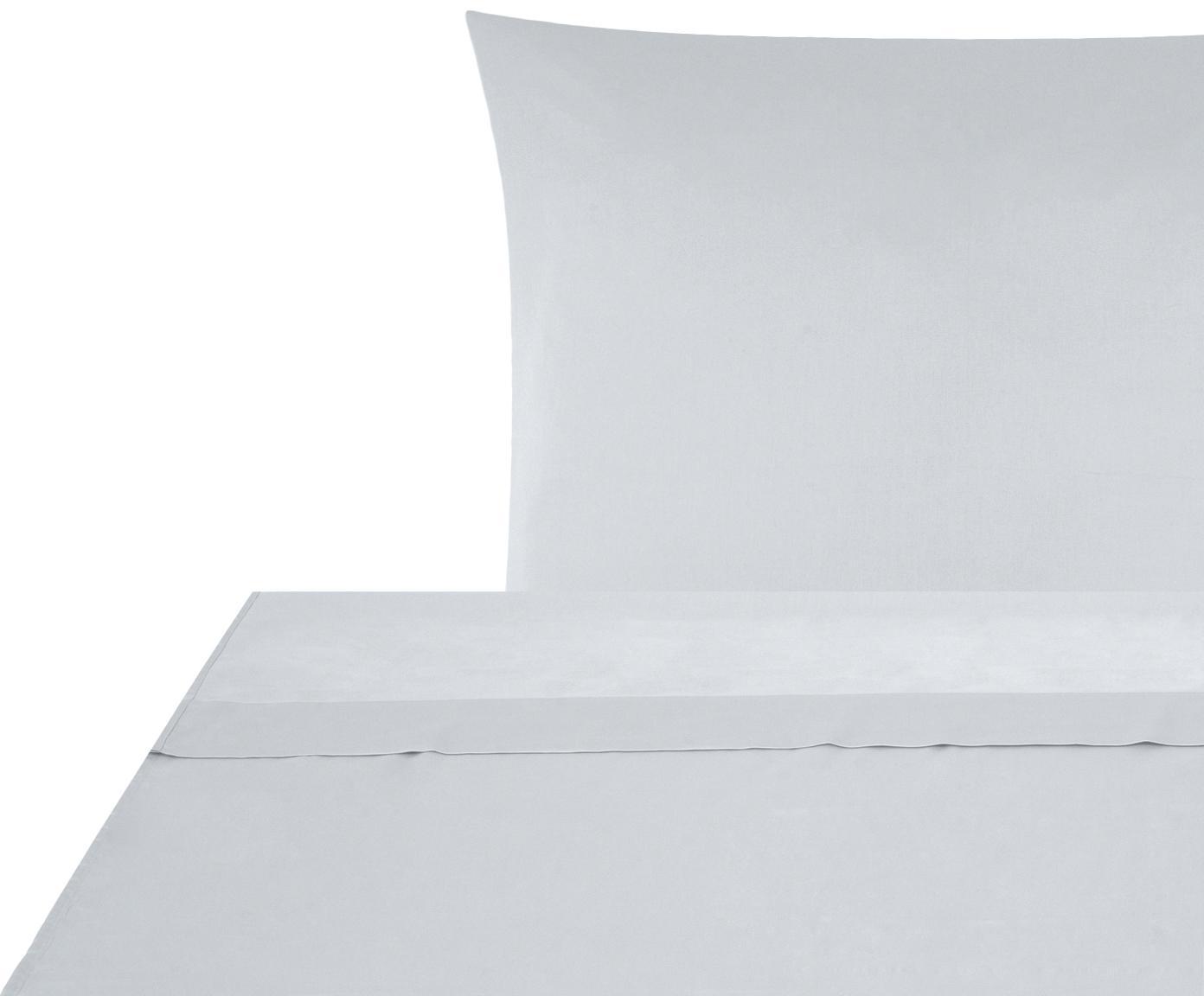 Set lenzuola in raso di cotone Comfort 2 pz, Tessuto: raso Densità del filo 250, Grigio chiaro, 150 x 300 cm