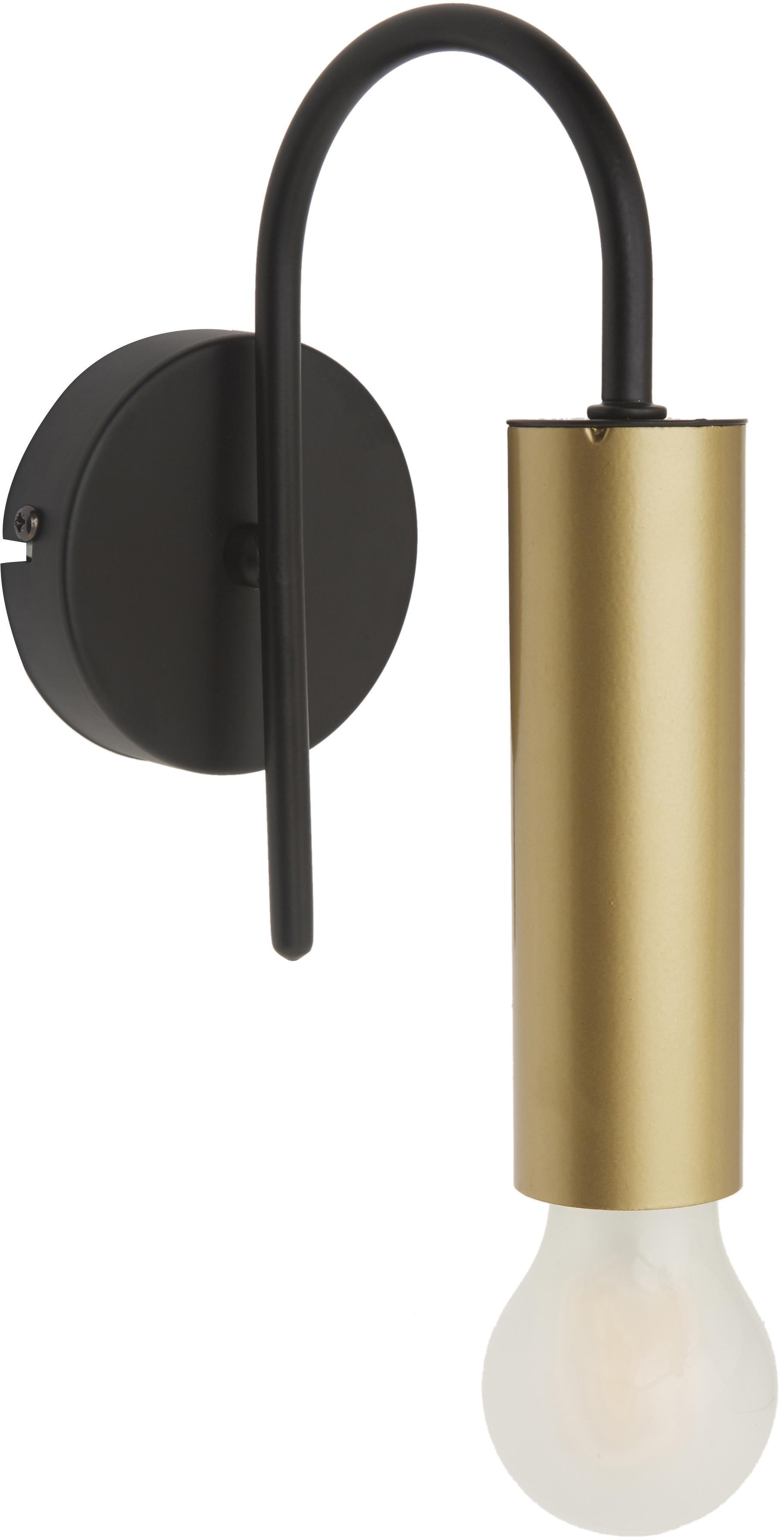 Wandleuchte Loppe, Metall, lackiert, Messingfarben, Schwarz, 10 x 21 cm