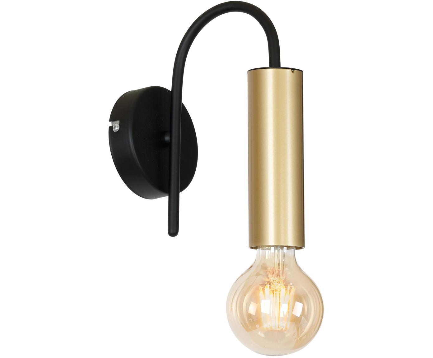 Wandlamp Loppe, Gelakt metaal, Messingkleurig, zwart, 10 x 21 cm