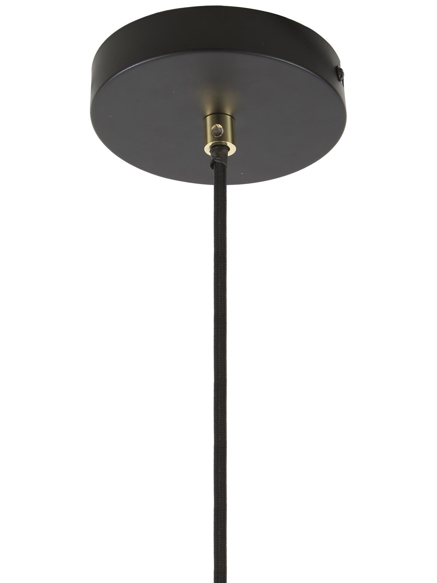 Pendelleuchte Wilma aus Metall, Lampenschirm: Metall, pulverbeschichtet, Baldachin: Metall, pulverbeschichtet, Dekor: Metall, galvanisiert, Schwarz, Ø 33 x H 25 cm