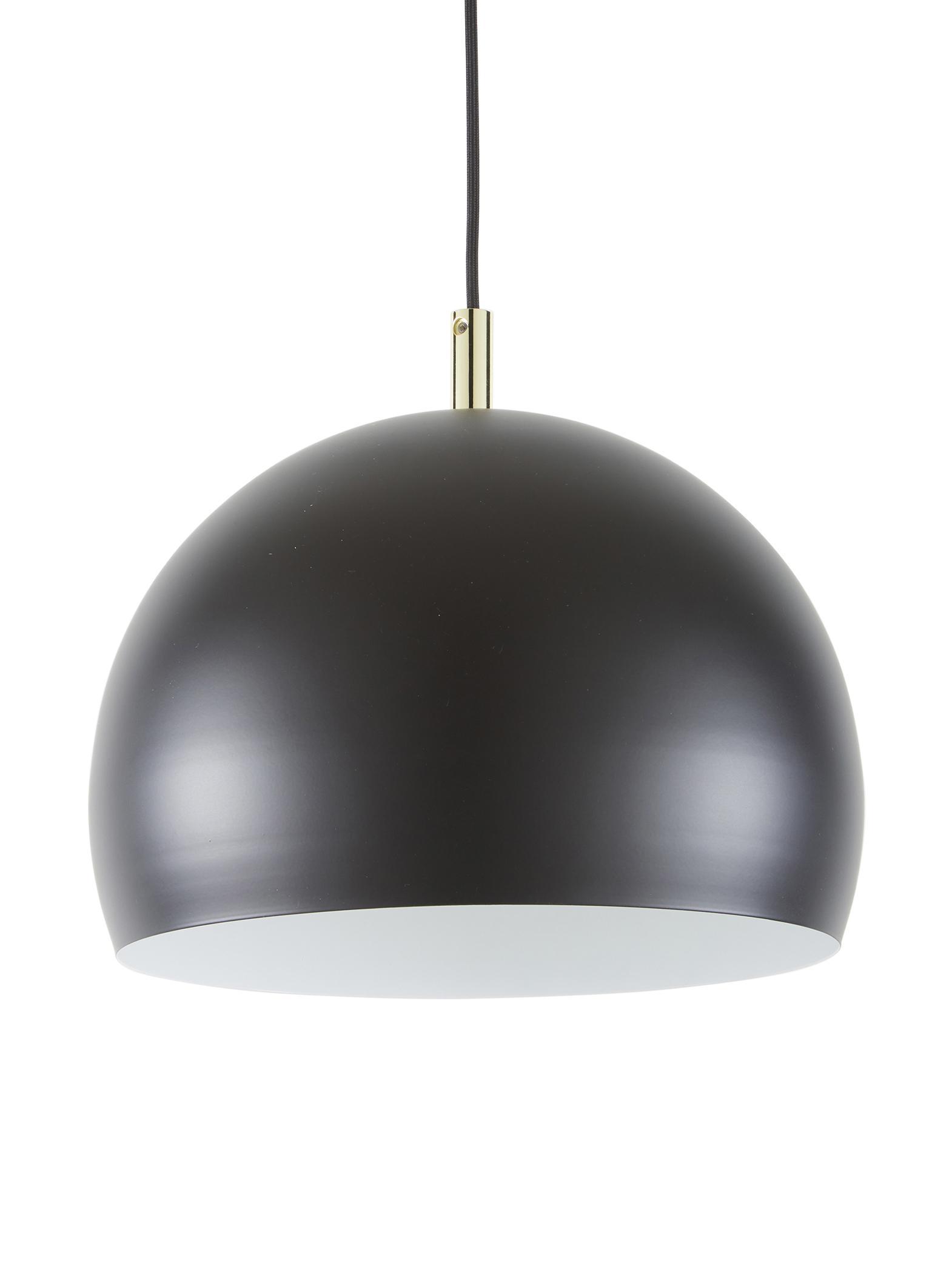 Lámpara de techo de metal Wilma, Pantalla: metal con pintura en polv, Anclaje: metal con pintura en polv, Cable: cubierto en tela, Negro, Ø 33 x Al 25 cm