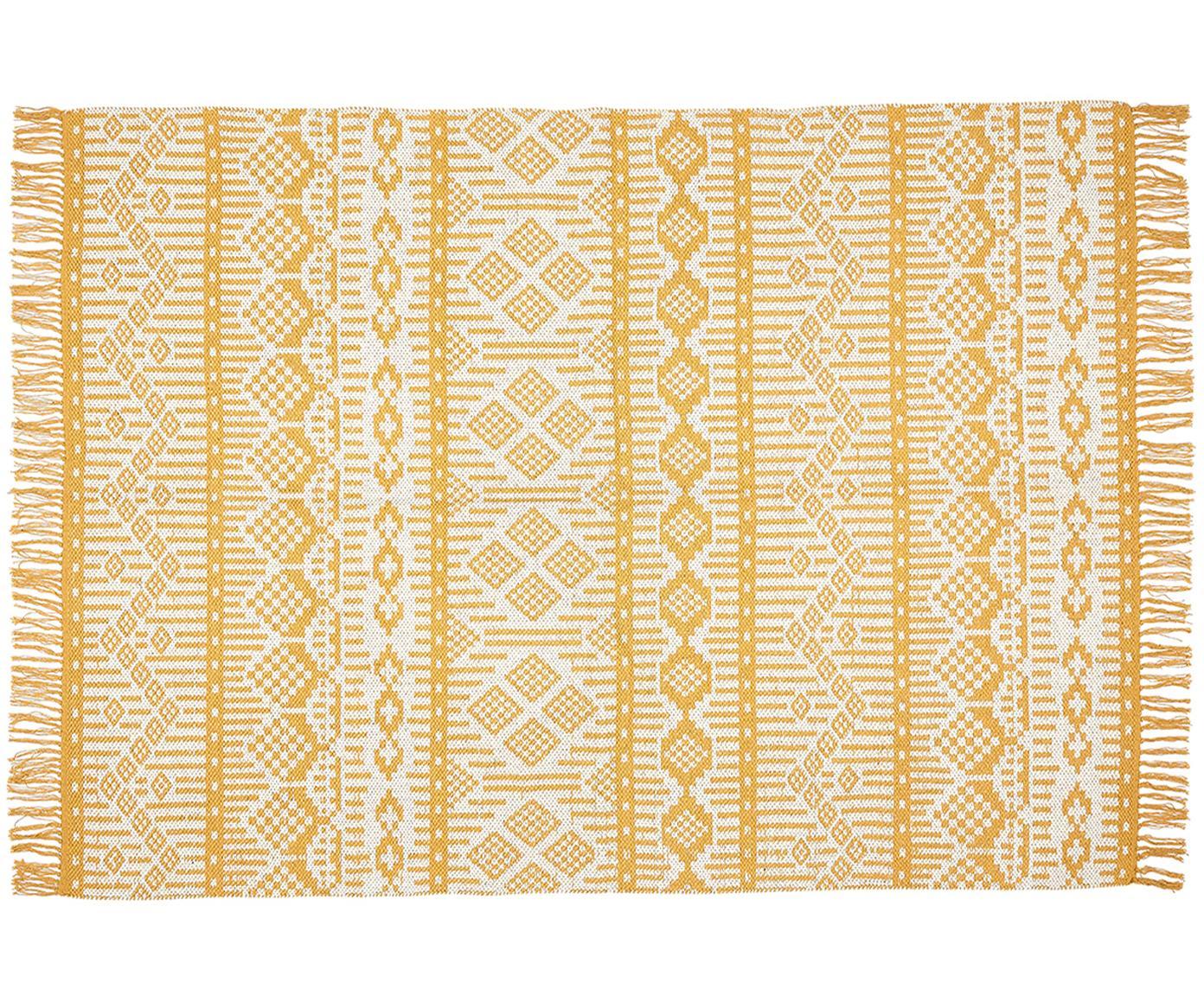 Ethno vloerkleed Panama van gerecycled katoen, Gerecycled katoen, Crèmekleurig, mosterdgeel, B 60 x L 90 cm (maat XXS)