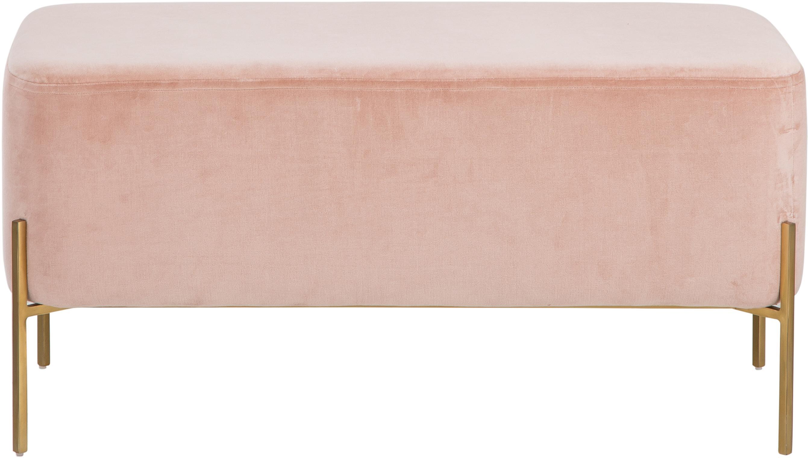 Samt-Polsterbank Harper, Bezug: Baumwollsamt, Fuß: Metall, pulverbeschichtet, Altrosa, Goldfarben, 90 x 44 cm