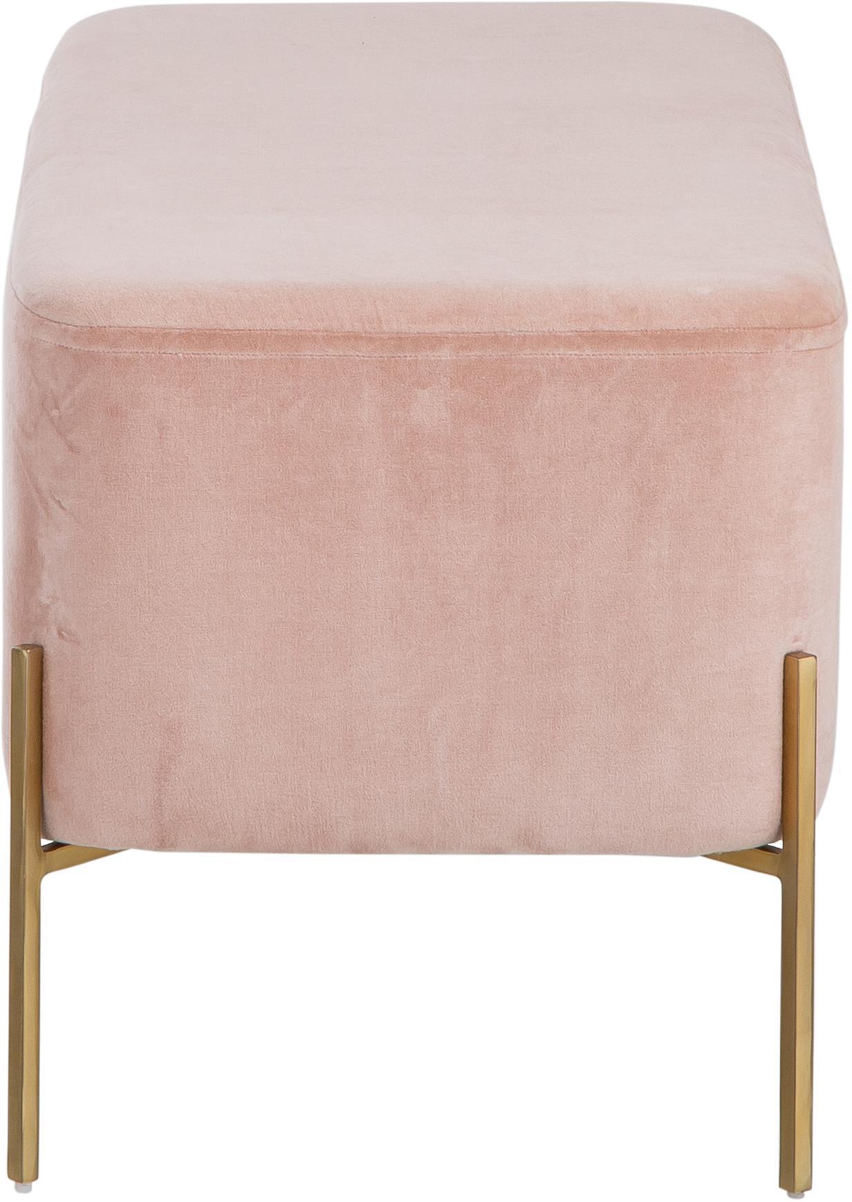 Banco de terciopelo Harper, Tapizado: terciopelo de algodón, Palo rosa, dorado, An 90 x Al 44 cm