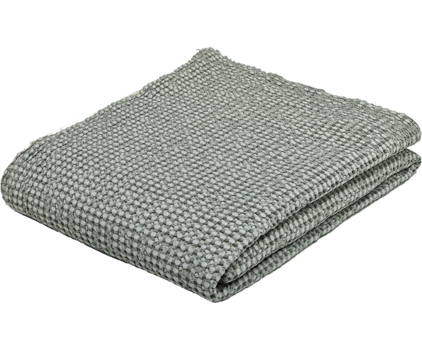Bedsprei Vigo met gestructureerde oppervlak, Katoen, Flessengroen, 220 x 240 cm