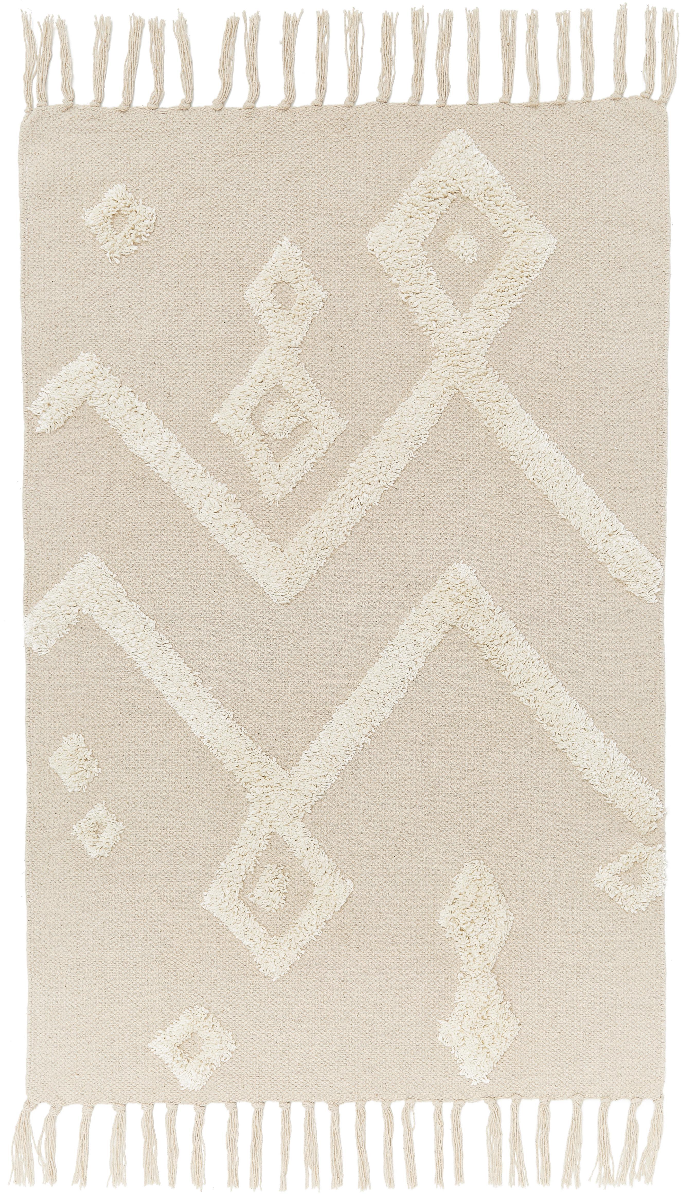 Vloerkleed Canvas met getufte decoratie, Katoen, Gebroken wit, B 60 x L 90 cm (maat XXS)