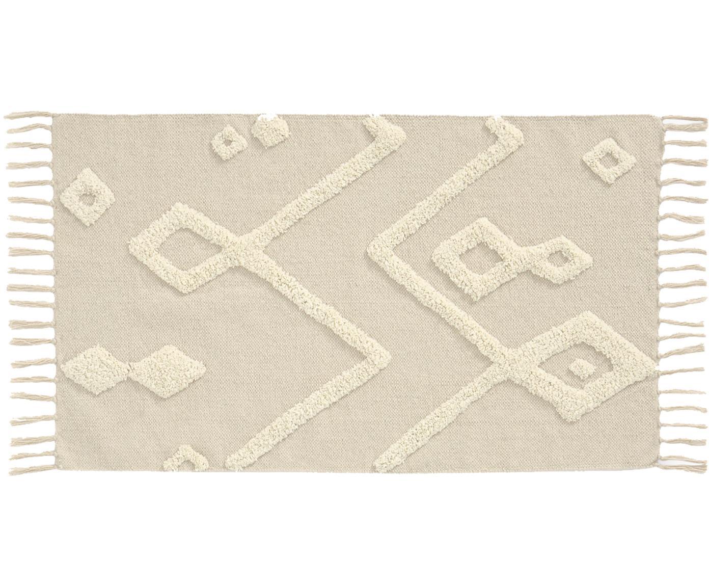 Teppich Canvas mit getufteter Verzierung, 100% Baumwolle, Gebrochenes Weiß, B 60 x L 90 cm (Größe XXS)