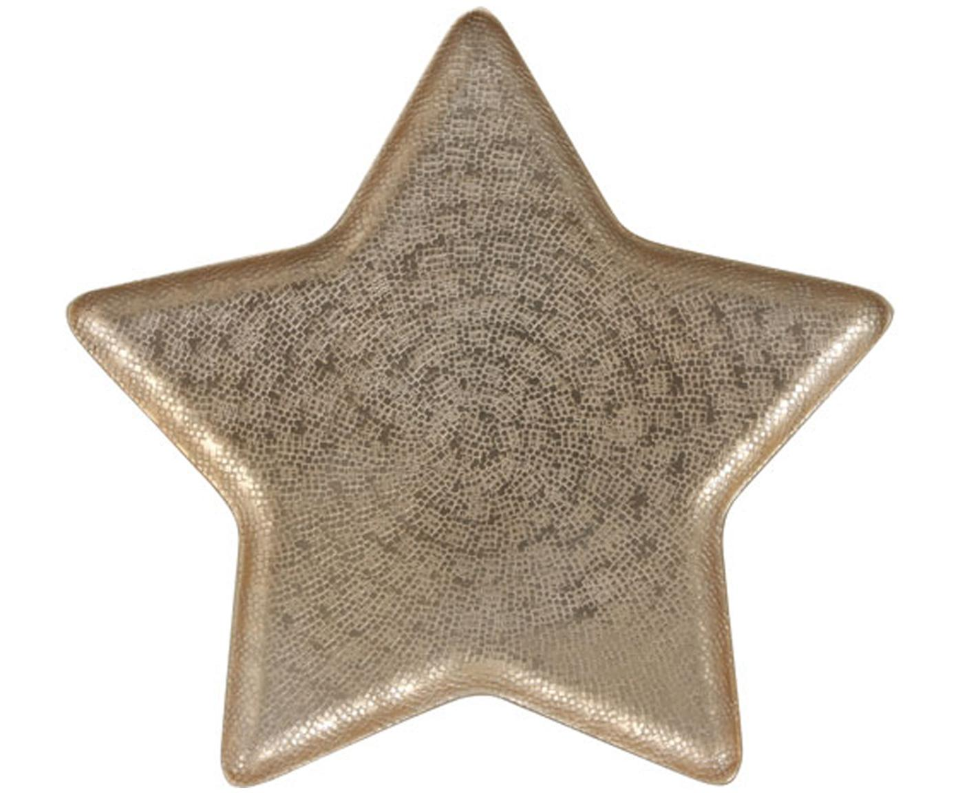Decoratieve schaal Star, Gecoat aluminium, Mat messingkleurig, 33 x 2 cm