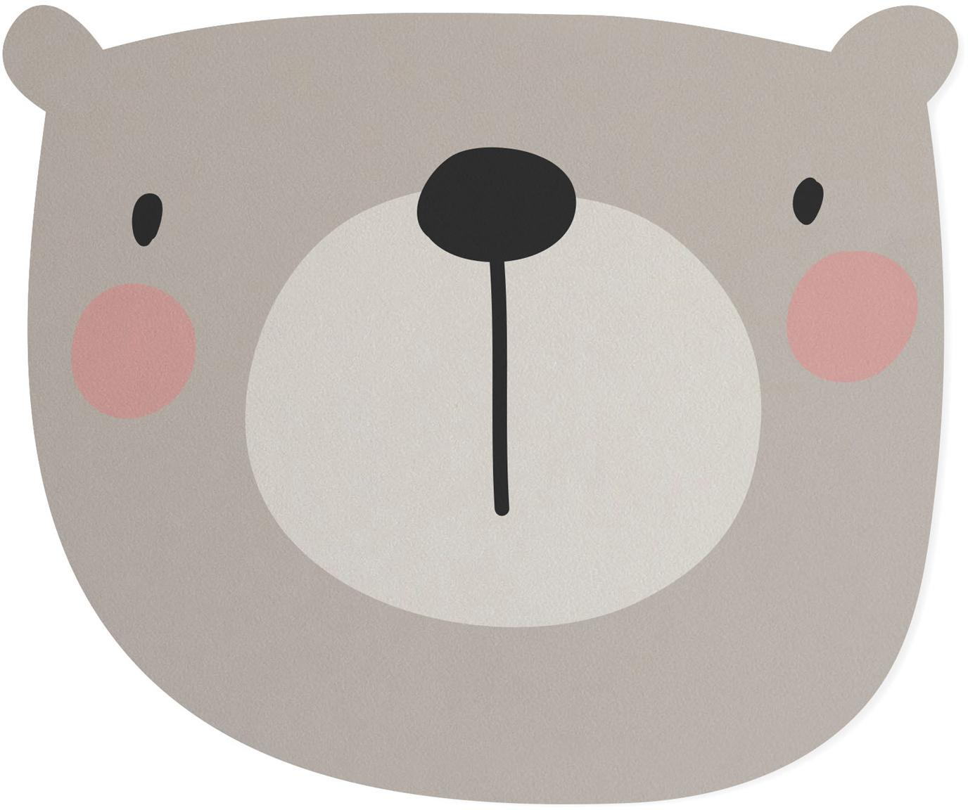 Protector de escritorios Bear, Fibras de yute y resina, Gris, beige, rosa, negro, An 35 x L 55 cm