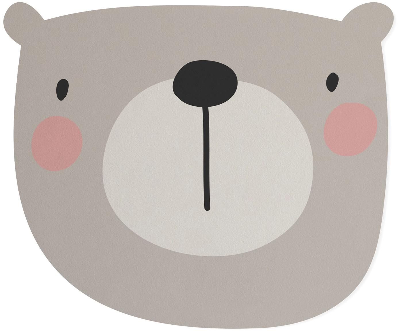 Bureau-onderlegger Bear, Jute- en harsvezels, Grijs, beige, roze, zwart, 35 x 55 cm