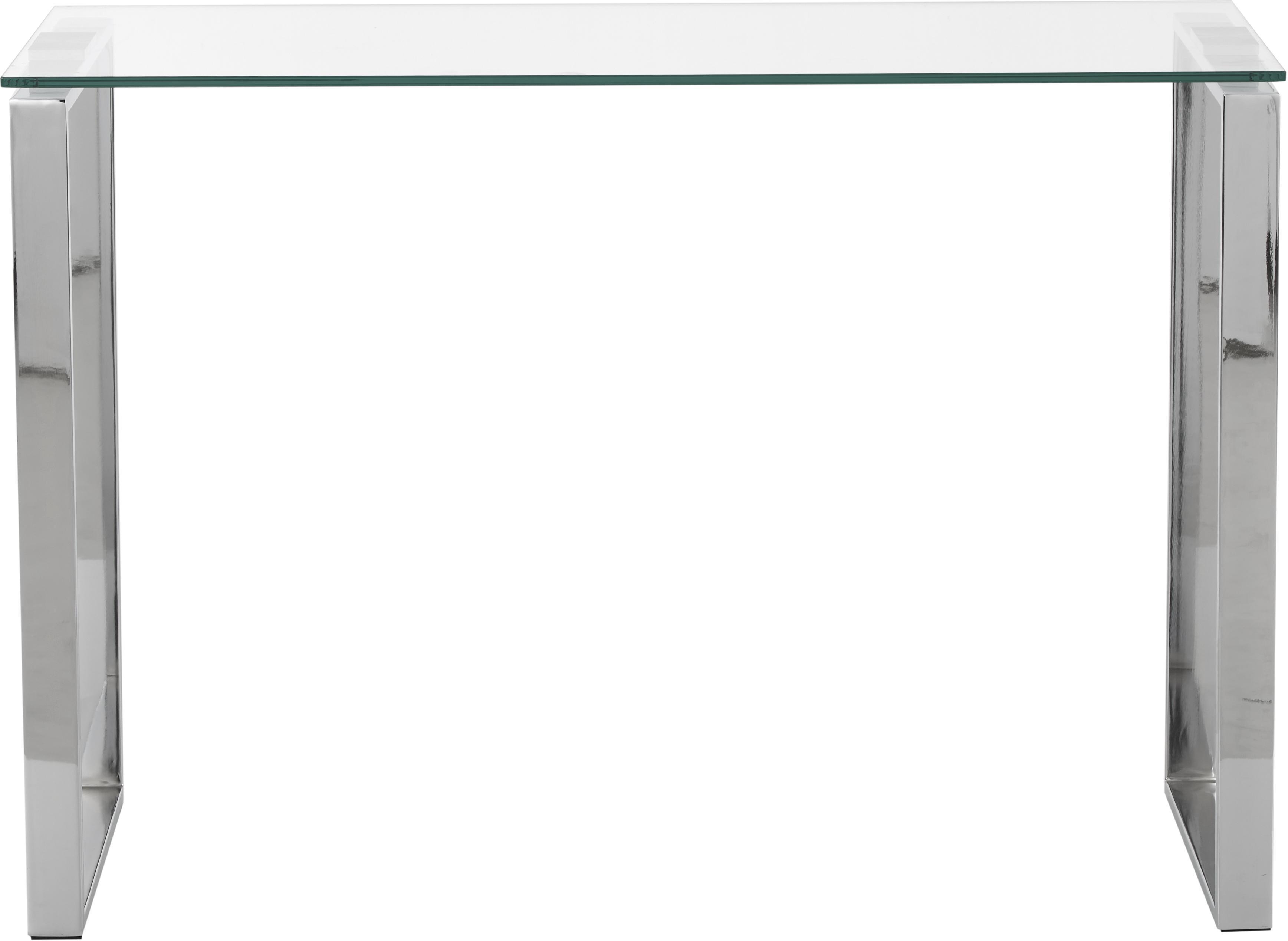 Glas-Konsole Katrine mit silberfarbenen Gestell, Hartglas, Metall, Transparent, 110 x 76 cm