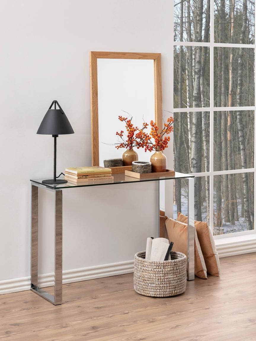 Consolle in vetro con struttura argentata Katrine, Vetro temperato, metallo, Trasparente, Larg. 110 x Alt. 76 cm