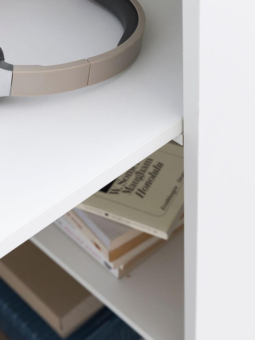 Scrivania bianca con vano contenitore Matt, Pannello di fibra a media densità (MDF) verniciato, Bianco opaco, Larg. 120 x Prof. 53 cm