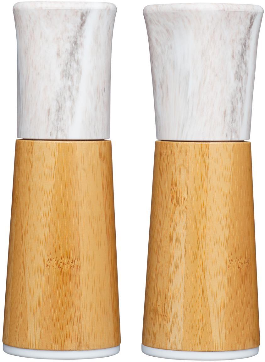 Set saliera e pepiera in marmo e bambù Dyta 2 pz, Bambù, marmo, ceramica, Bambù, bianco, marmorizzato, Ø 6 x Alt. 18 cm