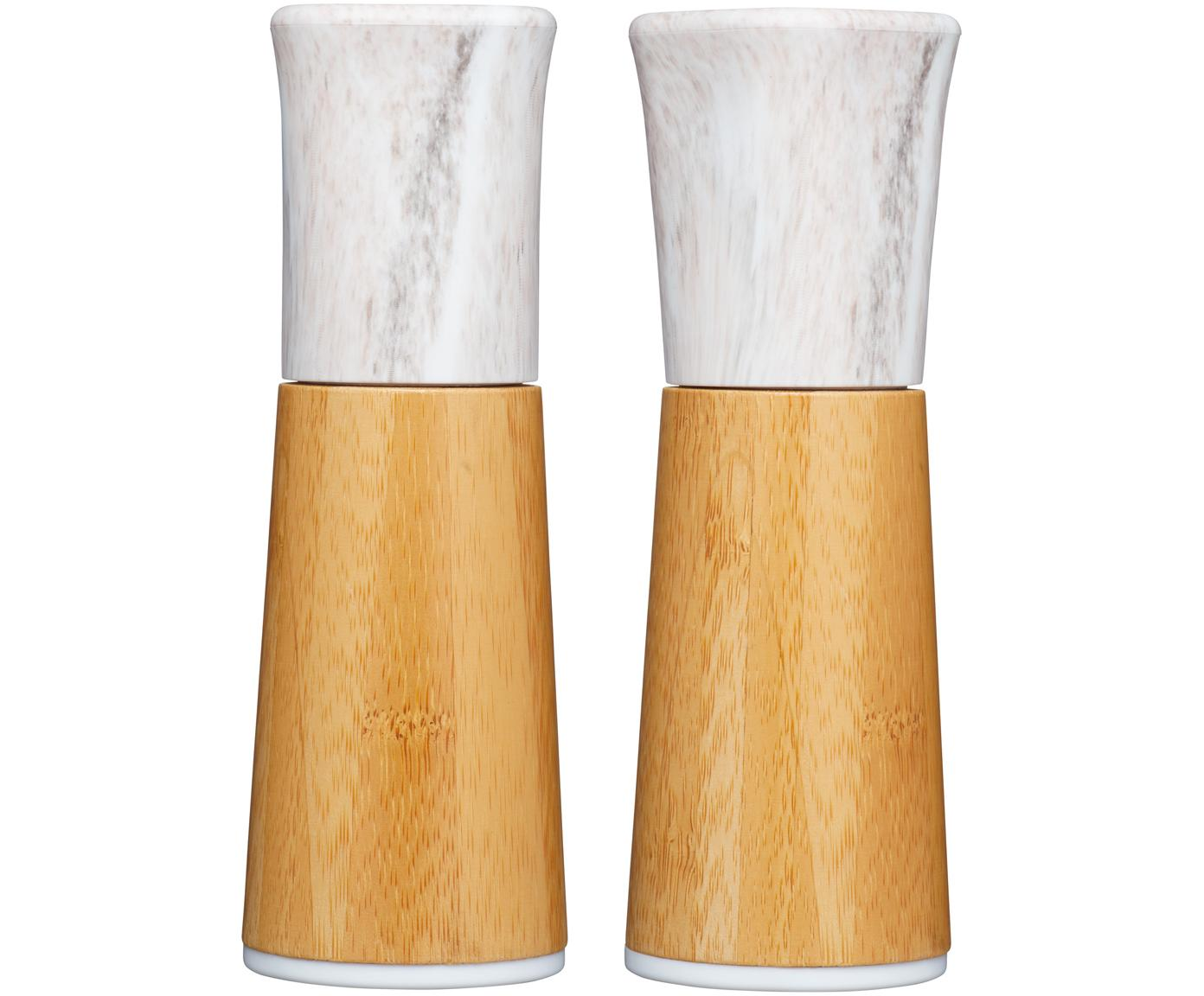 Marmor-Salz- und Pfeffermühle Dyta, 2er-Set, Gehäuse: Bambus, Marmor, Mahlwerk: Keramik, Bambus, Weiß, marmoriert, Ø 6 x H 18 cm