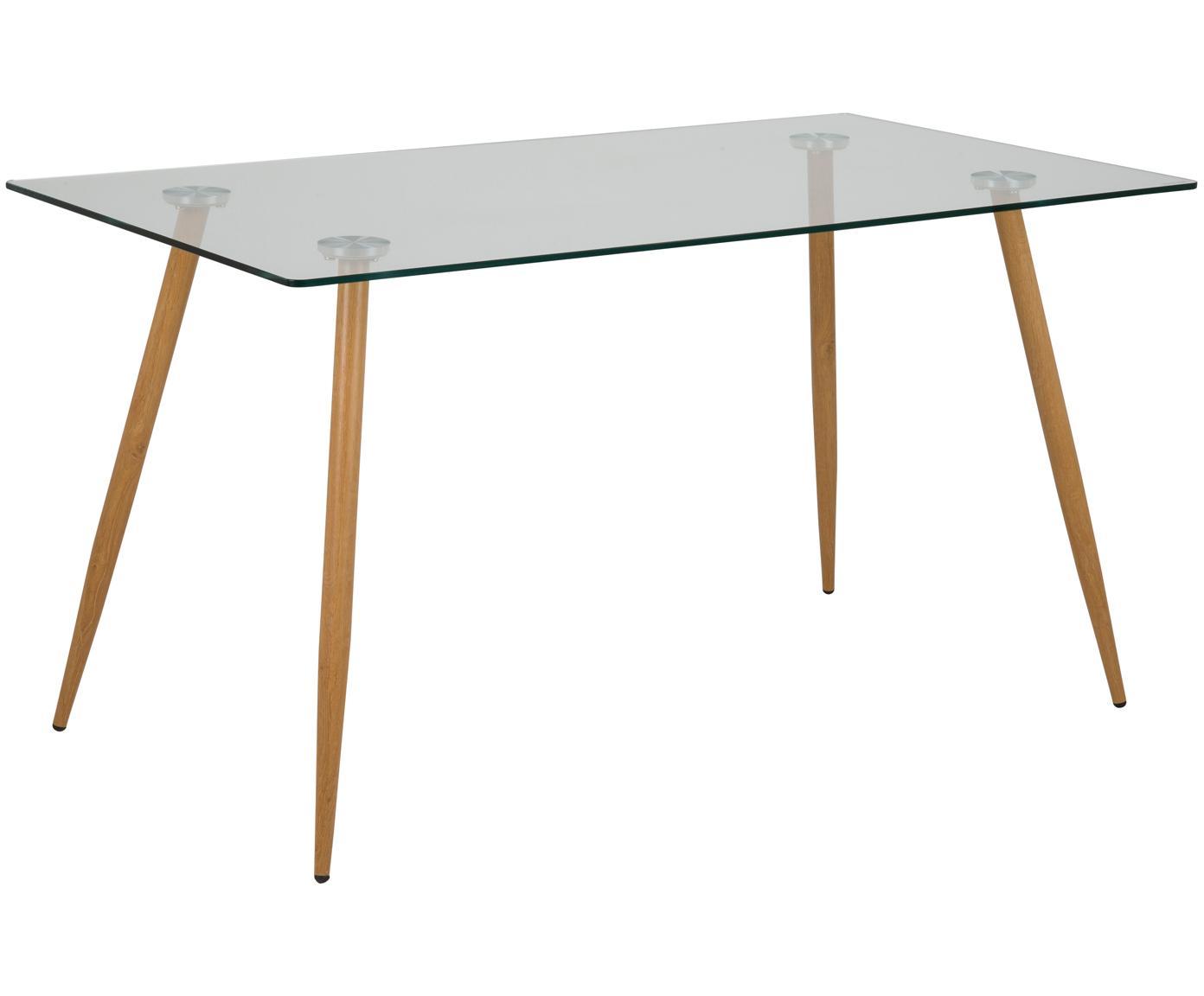 Glas-Esstisch Wilma mit Holzbeinen, Tischplatte: Sicherheitsglas, Beine: Metall, mit Lackierung in, Tischplatte: Transparent<br>Befestigung: Metall<br>Beine: Eiche, B 140 x T 80 cm