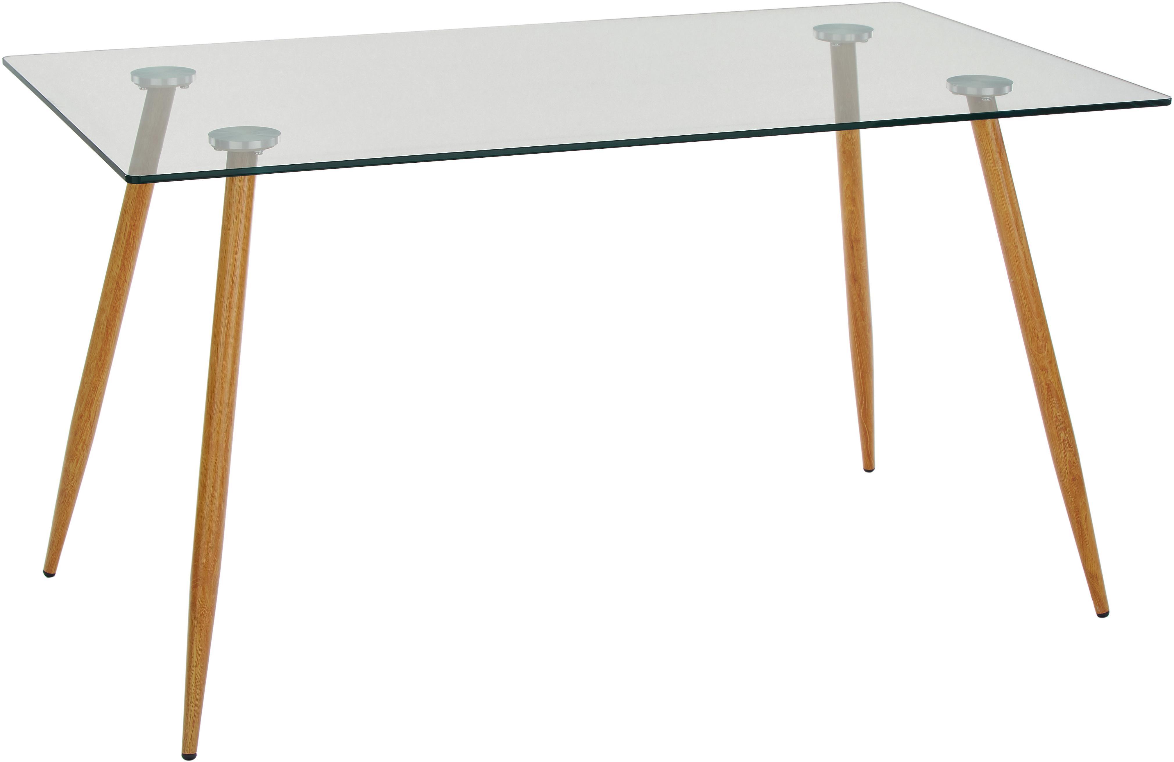 Stół do jadalni ze szkła z drewnianymi nogami Wilma, Blat: szkło hartowane, Nogi: metal malowany na kolor d, Blat: transparentny<br>Mocowanie: srebrny<br>Nogi: drewno dębowe, S 140 x G 80 cm