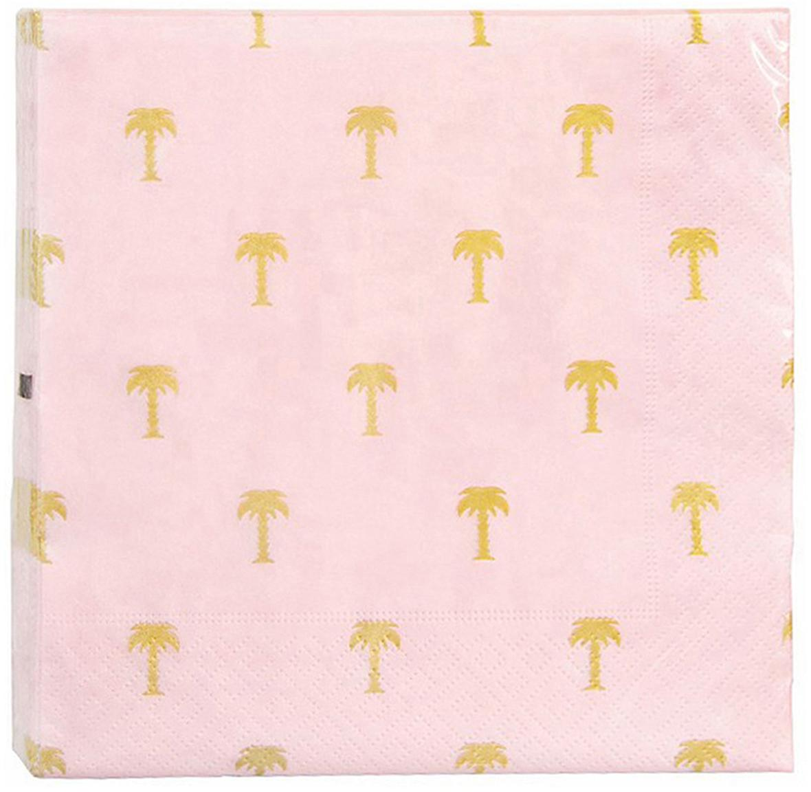 Servilletas de papel Palmtree, 20uds., Papel, Rosa, dorado, An 17 x L 17 cm