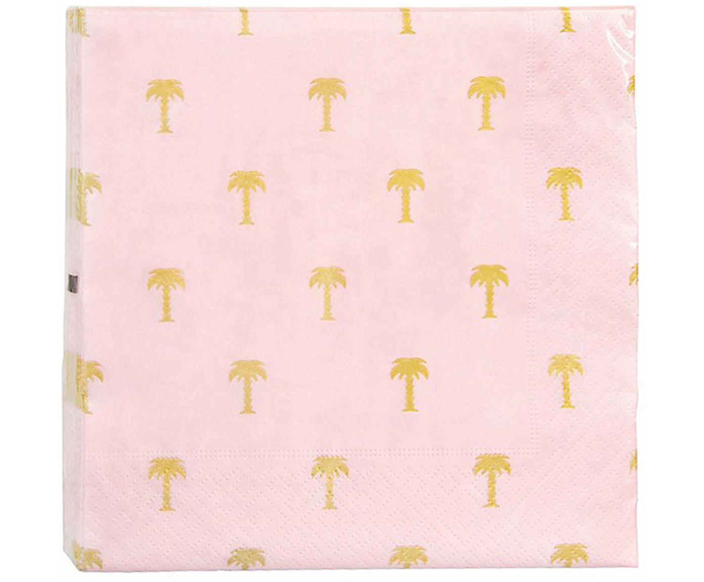 Papier-Servietten Palmtree, 20 Stück, Papier, Rosa, Goldfarben, 17 x 17 cm