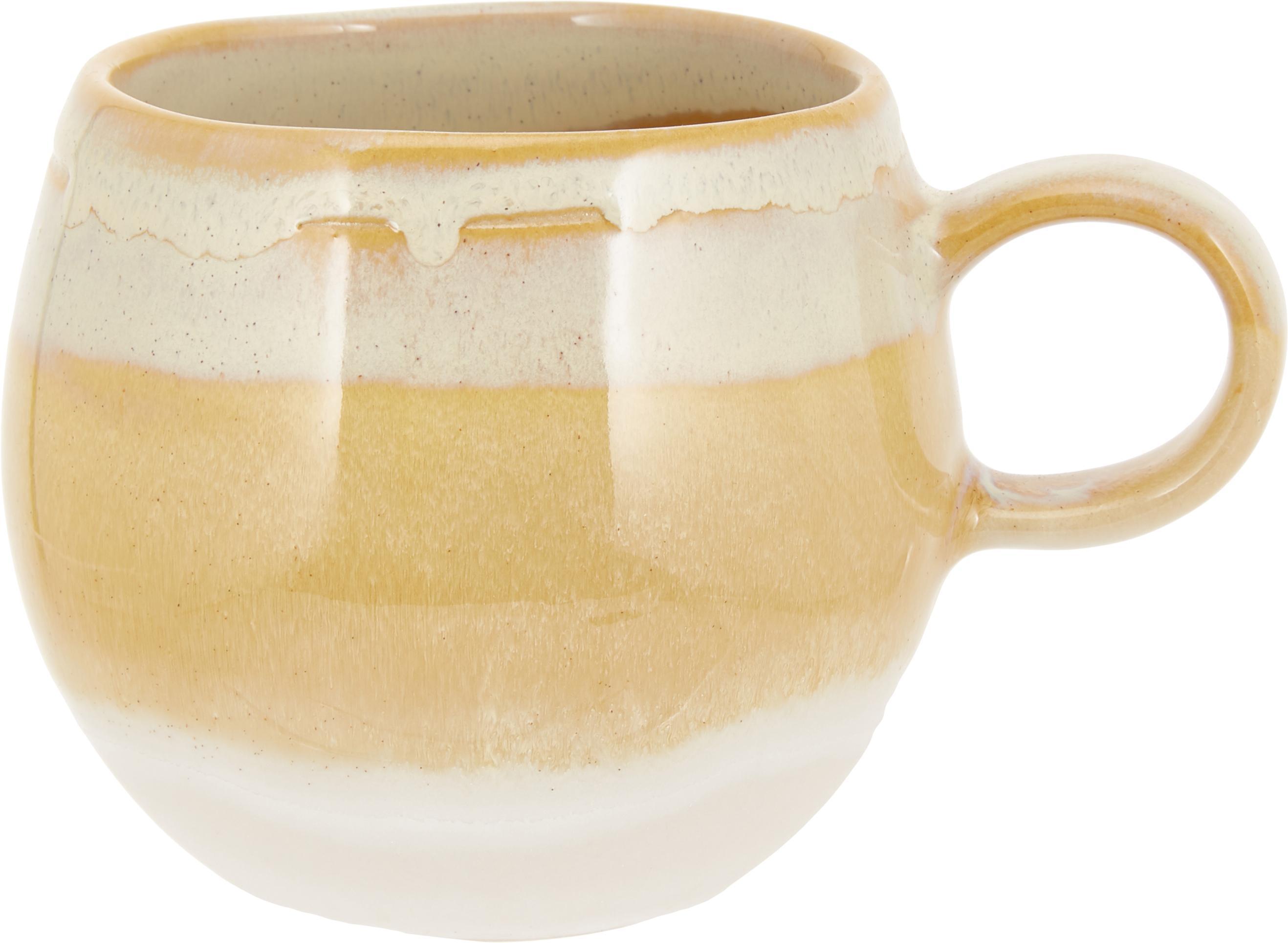 Taza de café artesanal April, Gres, Tonos beige, Ø 9 x Al 8 cm